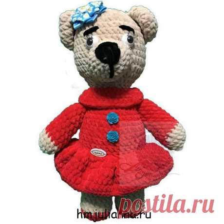 Мягкая игрушка медведица, плюшевая в коралловом платье, 36 смПлюшевый мир Мастерская игрушек Анны Ганоцкой
