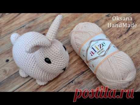 Игрушка Кролик крючком. Видео и схема. Crochet rabbit toy. Alize cotton gold hobby