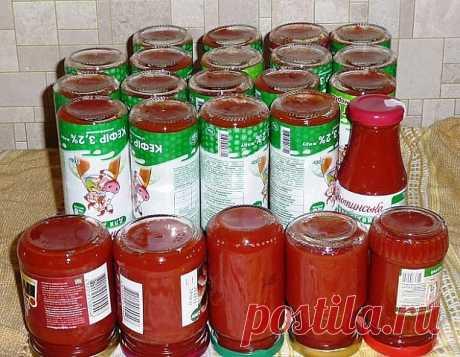 Домашний томатный соус-кетчуп на зиму.  Супер подборка на любой вкус!  1. Соус томатный Классический   Ингредиенты:  3 кг помидоров, 150 г сахара, 25 г соли, 80 г 70% уксуса, 20 шт. гвоздичек, 25 шт. перца горошком, 1 зубчик чеснока, щепотка корицы, на острие ножа острого красного перца.  Приготовление: Помидоры мелко нарезать, выложить в кастрюлю, поставить на огонь и уварить на треть, не закрывая крышку. Затем добавить сахар, проварить 10 минут, всыпать соль и вари...