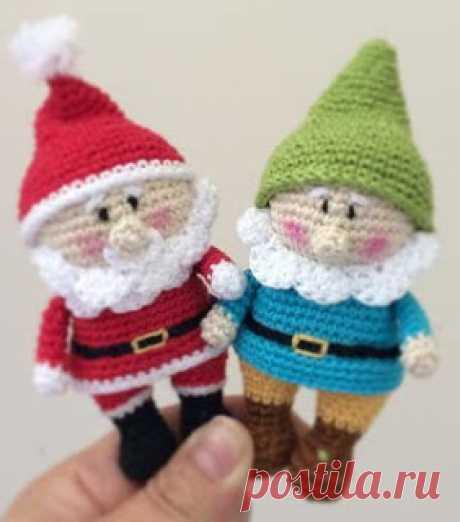 Вяжем амигуруми: Санта Клаус и гном