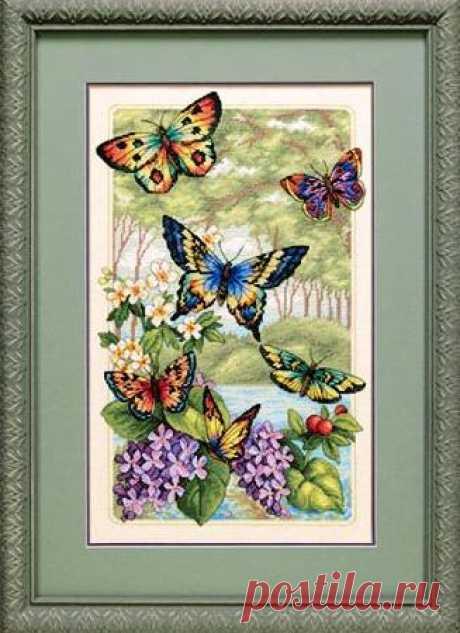 Лес бабочек, схема вышивки крестом