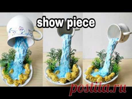 How to make amazing cup waterfall fountain show piece