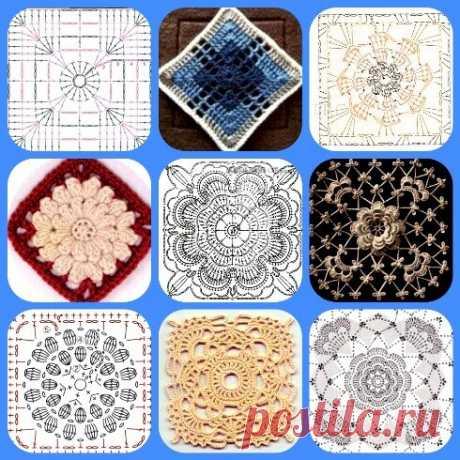 Кружевные квадратные мотивы: схемы для вязания крючком | Левреткоман-оч.умелец | Яндекс Дзен