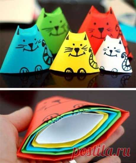 Кошки-матрёшки из цветной бумаги — Поделки с детьми