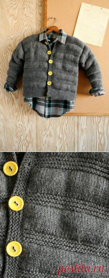 Cardigan with relief strips