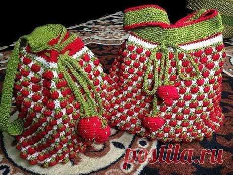 Земляничное настроение для вязаной сумочки — DIYIdeas