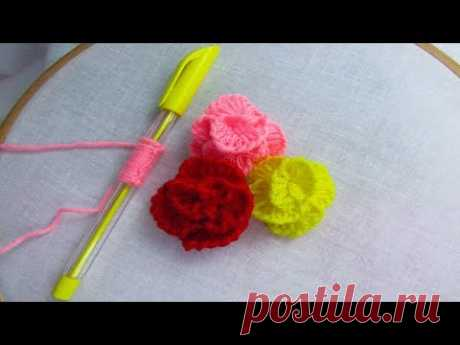 Hand Embroidery amazing trick# Sewing Hack with Pen# Easy Rose Flower Embroidery Trick