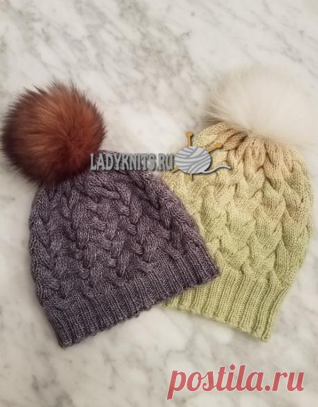 Вязание красивых женских шапок с косами, описание