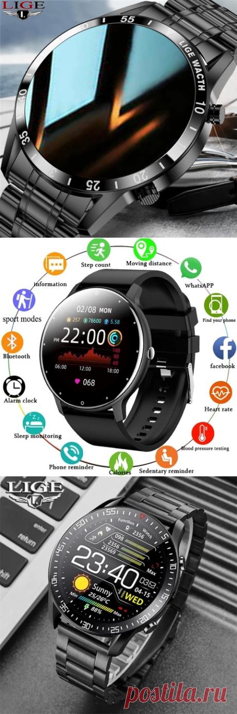 Смарт-часы LIGE мужские водонепроницаемые, Bluetooth, IP67, 2021 + коробка