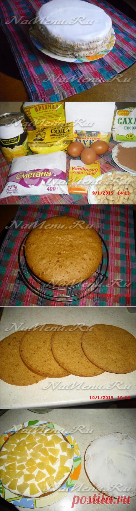 Бисквитный торт с ананасами в мультиварке
