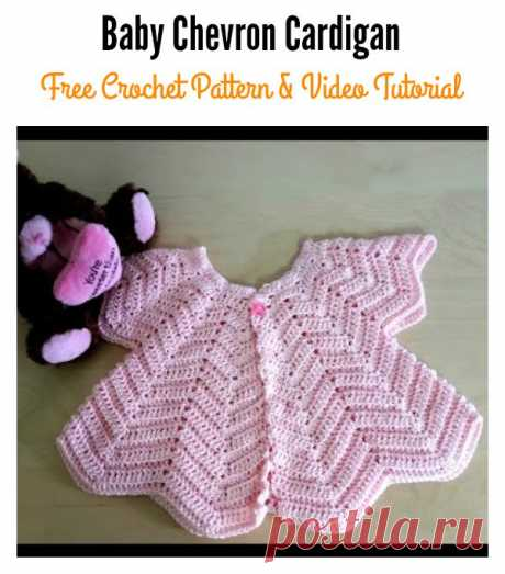 Baby Chevron Cardigan Free Crochet Pattern and Video Tutorial