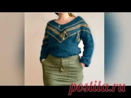 Диагональный пуловер крупной вязки. Обзор. 1 Часть