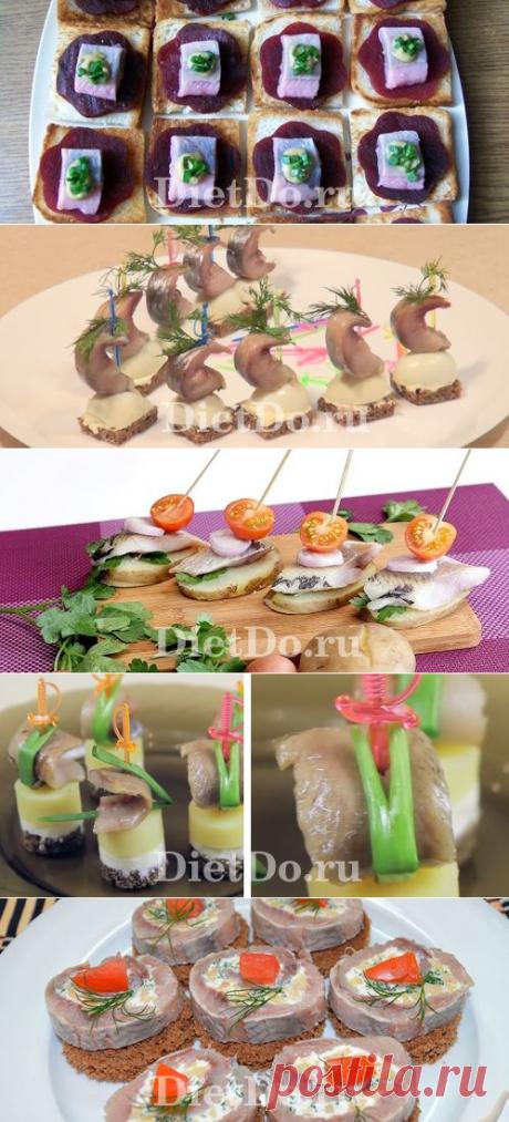 Канапе с селедкой: ТОП-10 рецептов с фото на праздничный стол