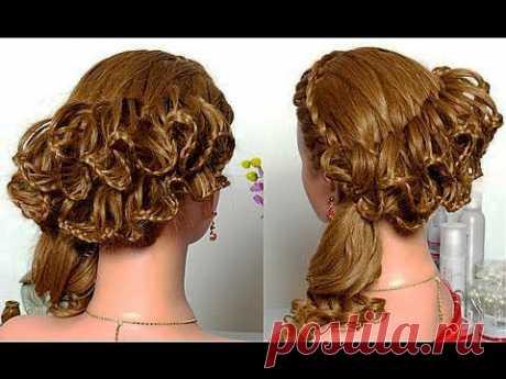 Праздничная  с кружевными косами. Braided hairstyle for long hair - YouTube