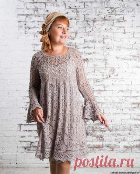 Ажурное платье спицами по шетландским мотивам. Платье шетландское кружево | Шкатулка рукоделия. Сайт для рукодельниц.