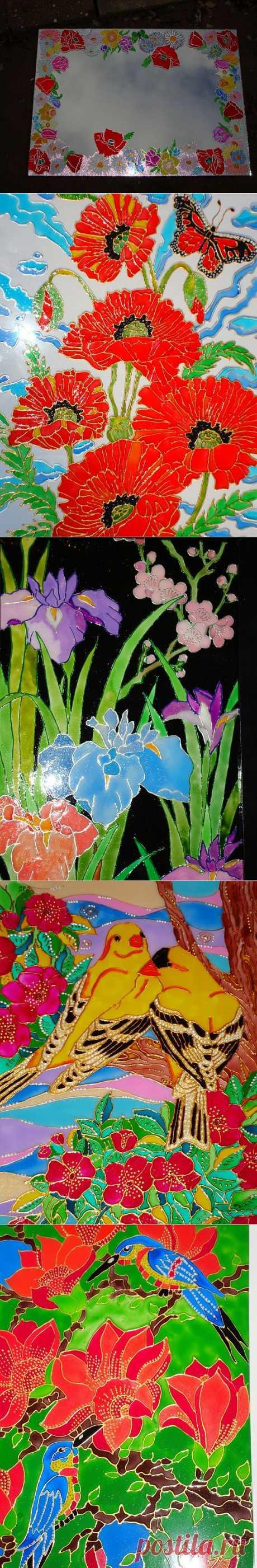 (+1) - Витражная роспись. Стекло, витражные краски, формат А4 | Очумелые ручки