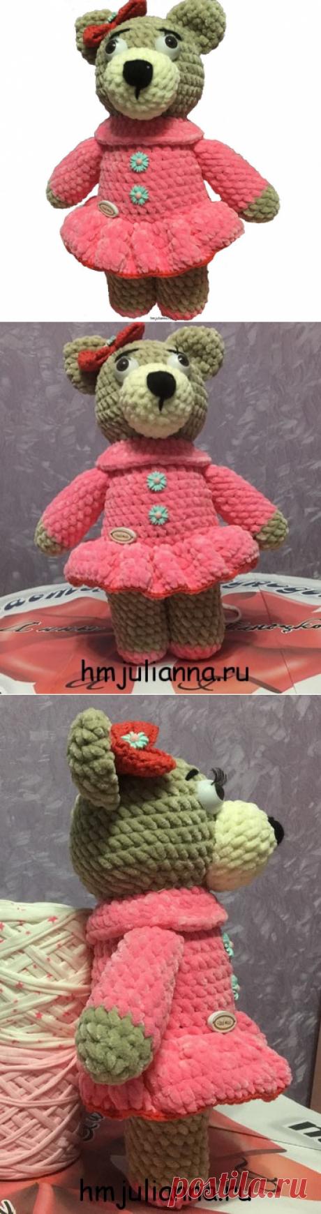 Детская игрушка Медведица в розовом платье выполненная из плюша.Мастерская рукоделия Анны Ганоцкой