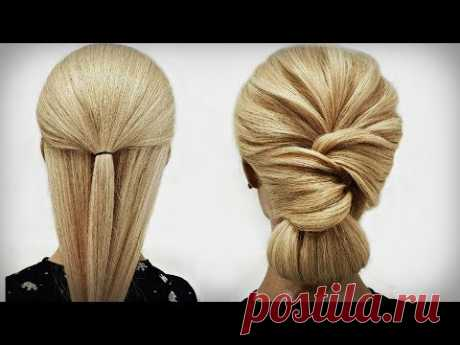 Простая прическа из Резинки. ПОШАГОВО! A Simple hairstyle from an elastic band. STEP BY STEP!