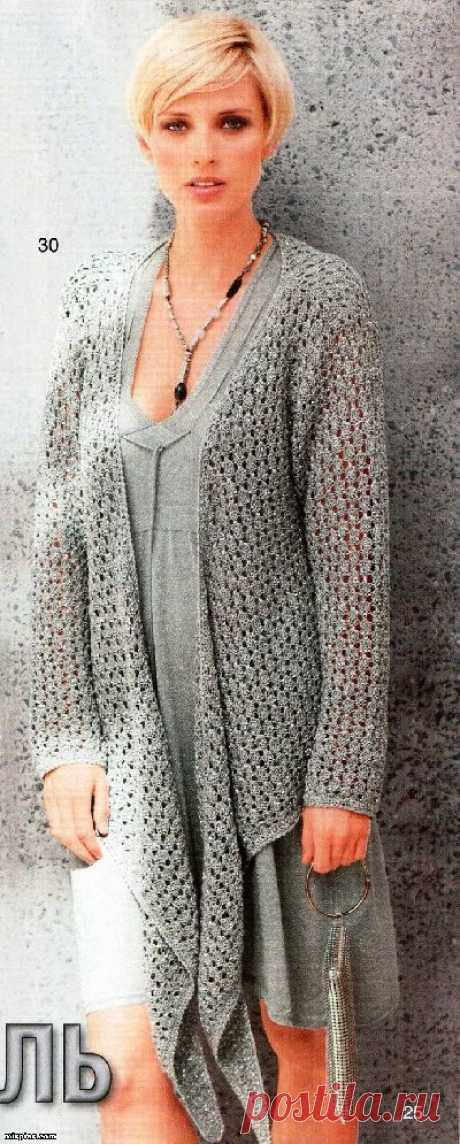 Вязаный свитер с запахом, кофта жакет-длин рукав спицы крючок - схема вязания, фото, описание