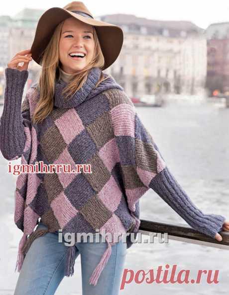 Пуловер-пончо в технике многоцветного пэчворка. Вязание спицами