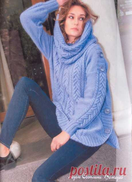 Теплый свитер спицами с описанием. Oversize свитер с боковыми разрезами |