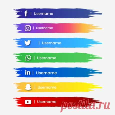 Social Media Button Abstract Brush Stroke And Color Gradient, Social, Media PNG and Vector with Transparent Background for Free Download