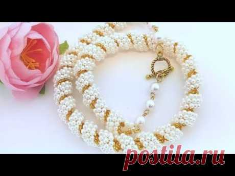 Pearl necklace/Pearl Harness/Beaded HARNESS/Spiral Harness/Жемчужный жгут/Жгут из бисера - YouTube