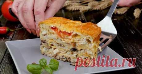 Ленивый пирог из лаваша с грибами и курицей- Со Вкусом