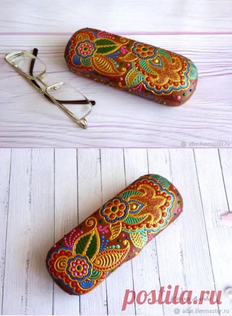 Футляр для очков коричневый мехенди – купить в интернет-магазине на Ярмарке Мастеров с доставкой - GJISDRU   Омск