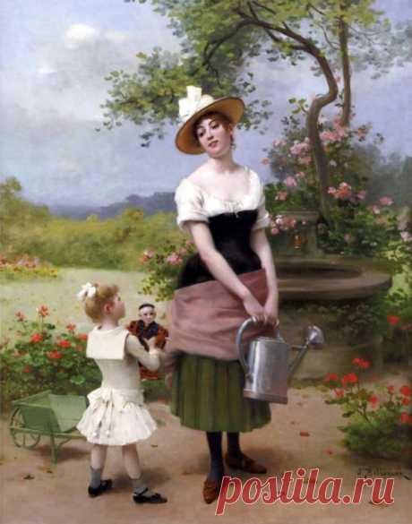 Рыжая...Французский живописец Jules Frederic Ballavoine (1855-1901)