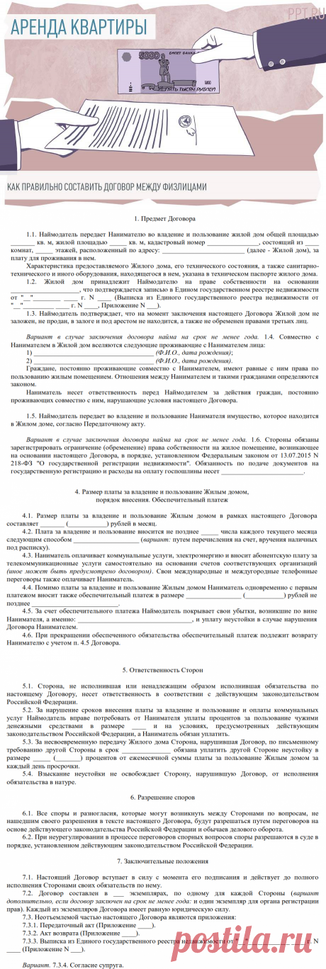 Образец договора найма квартиры между физическими лицами 2020 года