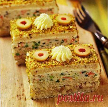 Закусочные пирожные из селёдки и крабовых палочек   Четыре вкуса