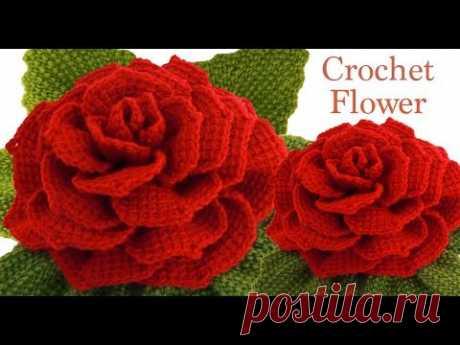 Como hacer flor rosa Gigante 3D con hojas a Crochet en punto tunecino tejido tallermanualperu