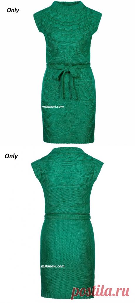 Платье спицами на кокетке | Вяжем с Лана Ви