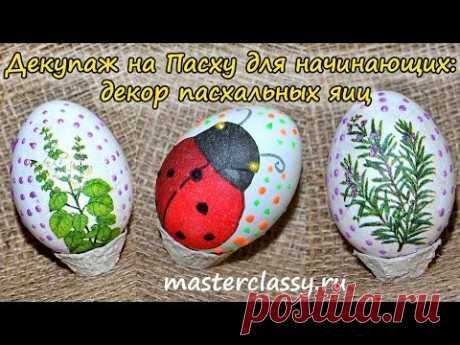 Dekupazh a la Pascua para los principiantes: la decoración de los huevos de Pascua. El vídeo la lección