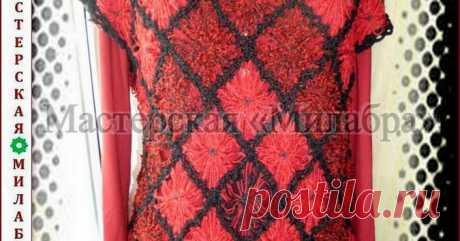 Связано на цветочном луме: жилетка со спущенными рукавами.