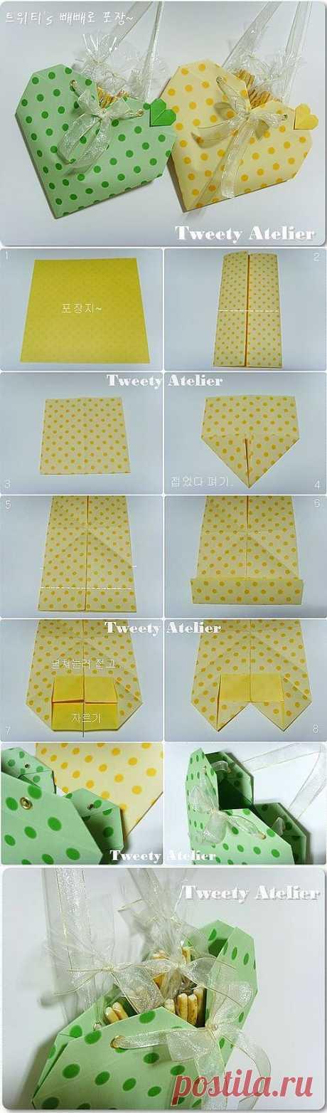 Подарки своими руками - Сумочка -сердце в технике оригами.