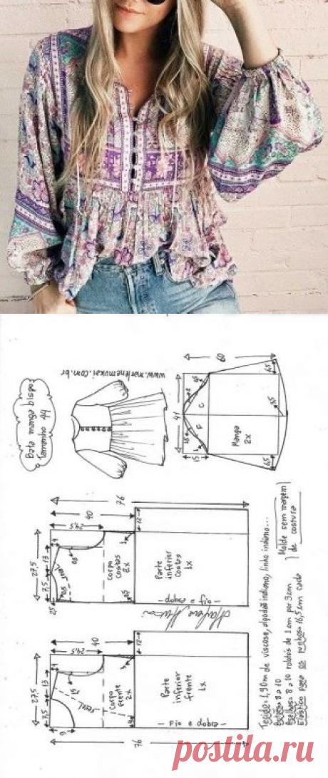 Blusa bata manga bispo | DIY - molde, corte e costura - Marlene Mukai