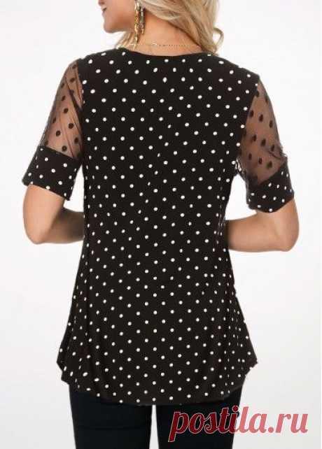 Polka Dot Mesh Patchwork Short Sleeve Blouse | modlily.com - USD $26.66