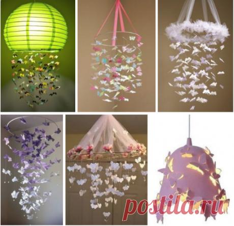 Идеи нежного абажура с бабочками