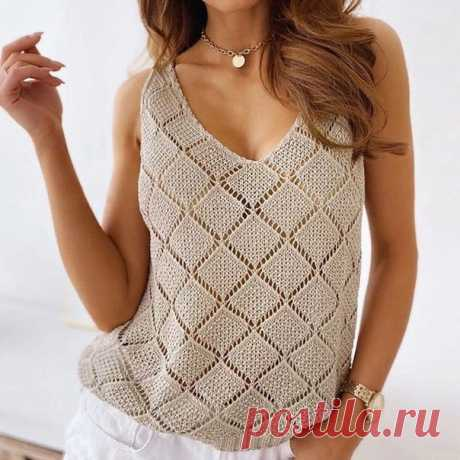 Топ спицами. Ромбы в ажурной решетке #knitting #вязание_спицами #топы_спицами