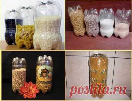 Los artículos de las botellas de plástico para la casa de campo - la foto de los ejemplos