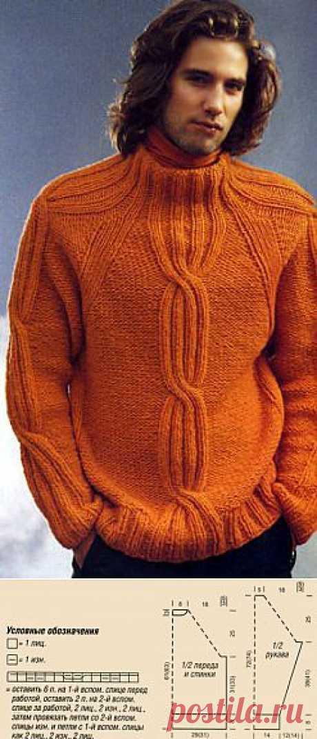 Пуловер реглан с косами и полосатый шарф » Вязание, вязание спицами, вязание крючком, Схемы вязания, вышивание, макраме, бисероплетение - все это на нашем сайте