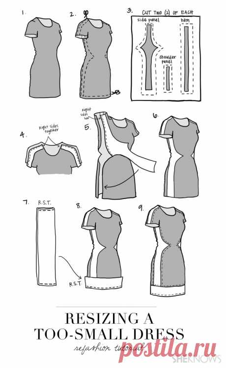 Как увеличить размер платья