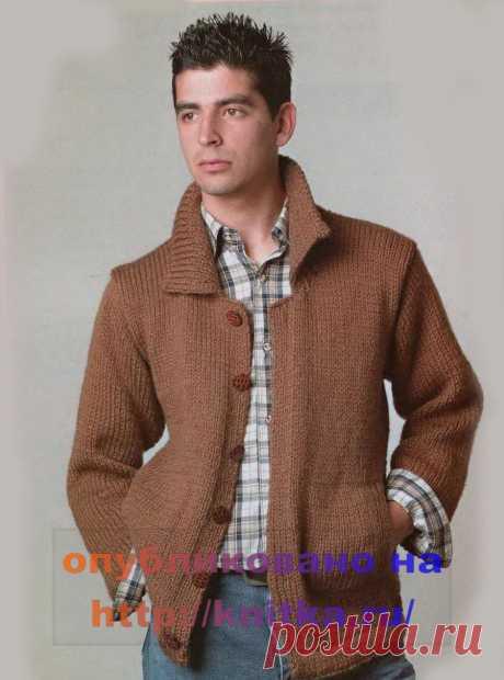 Жакет коричневого цвета из рубрики Вязание для мужчин. Вязание спицами модели и схемы на kNITKA.ru