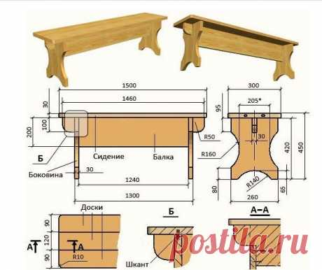 Мебель для бани своими руками    Несколько чертежей на фото