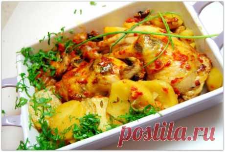 Куриные окорочка по-домашнему с грибами и картошкой.