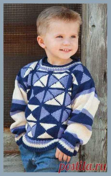 Разноцветный джемпер для мальчика / Вязание спицами