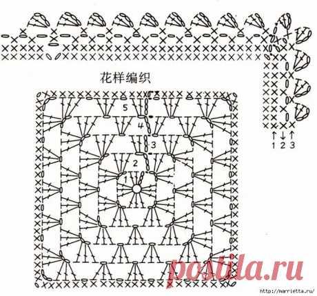 бабушкин квадрат крючком схемы для пледов: 14 тыс изображений найдено в Яндекс.Картинках