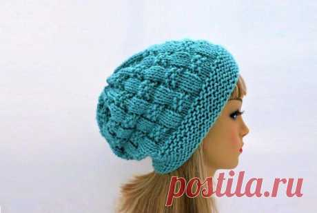 3 стильные модные шапки, связанные простыми узорами (с описанием)